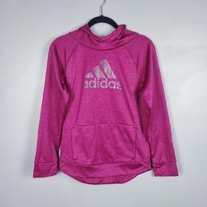Adidas pullover raglan hoodie w/ shimmery logo L
